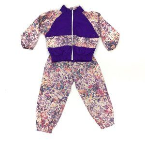 Vintage Track Suit Girls 2T Windbreaker Floral Set